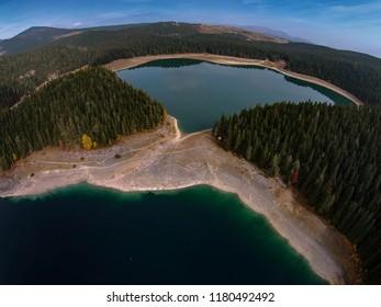 Aerial view of Black Lake in Durmitor National Park, Montenegro