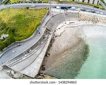 Aerial view of Blackrock beach in Salthill, Galway, Ireland