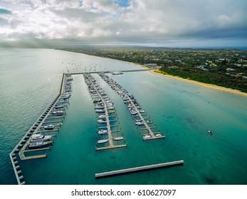 Aerial view of Blairgowrie Marina, Australia