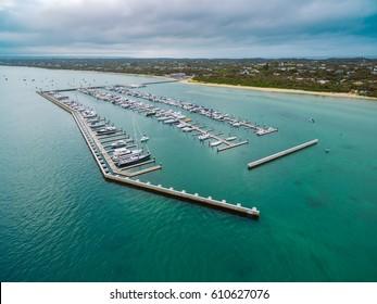Aerial view of Blairgowrie Marina, Melbourne Australia. Toned image