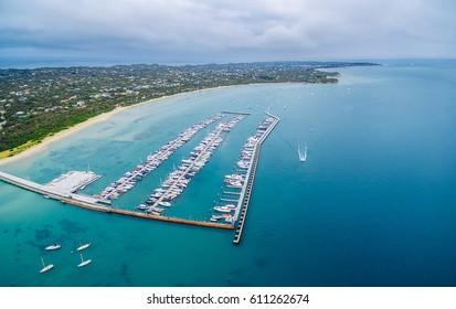 Aerial view of Blairgowrie Marina on Mornington Peninsula, Melbourne Australia