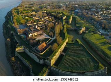 Aerial view, Blaye Citadel, UNESCO world heritage site in Gironde, Aquitaine, France