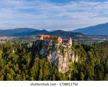 Aerial view of the Bled castle in Slovenia
