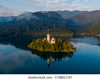Aerial view of the Bled island in the morning, Slovenia