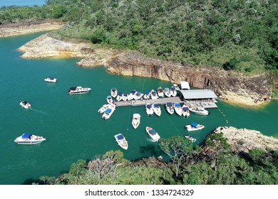 Aerial view of Blue Lagoon of Capitolio with beatiful landscape. Capitolio, Minas Gerais, Brazil. Furnas's dam. Tropical travel. Travel destination. Vacation travel.