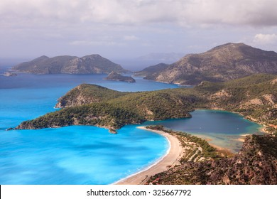 Aerial view of Blue Lagoon in Fethiye, Turkey Country