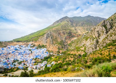 Aerial view of blue medina of city Chefchaouen,  Morocco, Africa