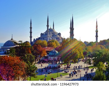 Aerial View of Blue Mosque (Sultan Ahmed Mosque/ Sultanahmet Mosque) and Old Square (Autumn/ Fall) - Istanbul, Turkey