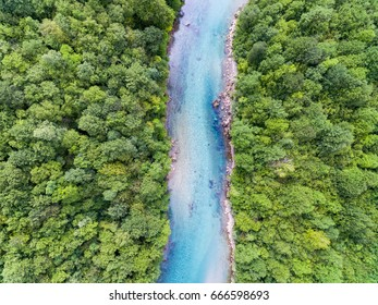 Aerial View Of Blue Mountain River