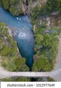 Aerial View of the blue Paloma River Gorge in Northern Patagonia Chile and the bridge