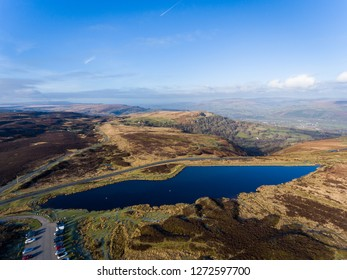 Aerial view of Blue pond Brecon Beacons. Keepers Pond, The Blorenge, Abergavenny, Wales, United Kingdom