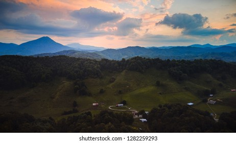 Aerial view of blue ridge mountains of  Appalachia