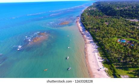 Aerial view of a blue sea. Fantastic landscape. Great beach view. Arraial d'Ajuda, Bahia, Brazil