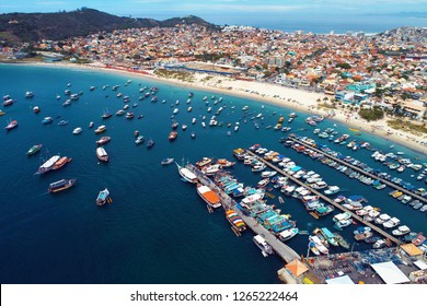 Aerial view of a blue sea. Fantastic landscape. Great beach view. Arraial do Cabo, Brazil