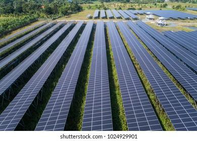Aerial view : Blue Solar farm, solar panels in Thailand