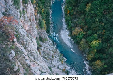 Aerial view of blue Tara river and deep canyon. Montenegro. Durmitor National Park.