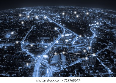 Aerial view, blue tone city and network connection concept