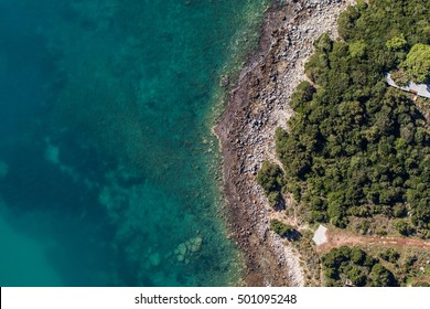 aerial view of the blue water coast line in Greece