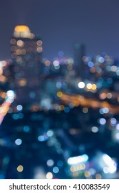 Aerial view blurred lights, bit city downtown night view