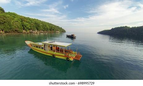 Aerial view of boat in Iboih beach, Sabang, Nangro Aceh Darusalam