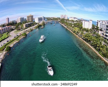 Aerial view of boating inlet in Boca Raton, Florida