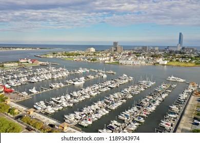 Aerial view of boating marina in Atlantic City N. J.