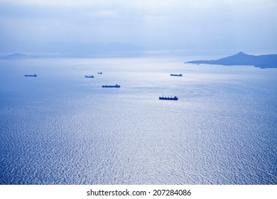 Aerial view of boats at aegean sea