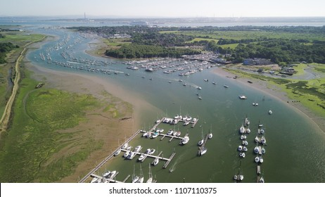 Aerial view of boats on the river Hamble, Southampton, UK