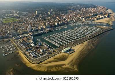 Aerial view and Boats parked in the Port of Arcachon, Aquitaine, France