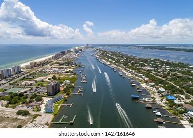 Aerial view of boats in Perdido Key beach, Florida and Ono Island, Alabama