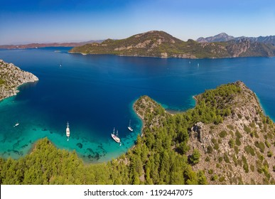 Aerial view of boats in Selimiye Cove in Turkey during Blue Voyage