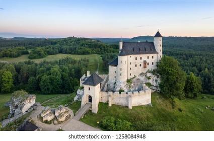 Aerial view of Bobolice Castle - 14th-century royal castle in the village of Bobolice, Polish Jura, Poland