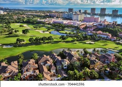 aerial view of boca raton florida community, looking across golf community toward beach and atlantic ocean