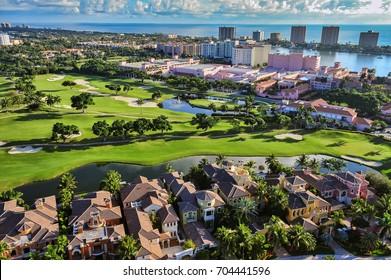 aerial view of boca raton florida community, looking across golf community toward beach and atlantic ocean