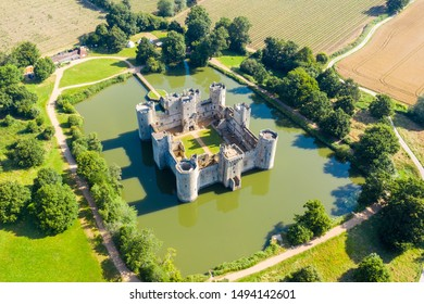 Aerial view of Bodiam Castle, Kent with the moat