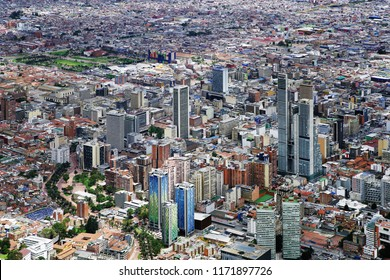 Aerial view of Bogota, seen from Montserrate, Colombia, South America