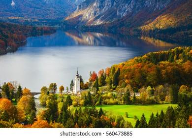 Aerial view of Bohinj lake in Julian Alps.  Popular touristic destination in Slovenia.