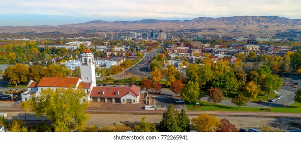 Aerial view of the Boise Skyline and train depot