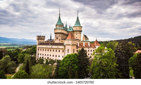 Aerial view of Bojnice medieval castle, UNESCO heritage in Slovakia. Romantic castle with gothic and Renaissance elements built in 12th century.