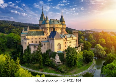 Aerial view of Bojnice medieval castle, UNESCO heritage in Slovakia. Romantic castle with gothic and Renaissance elements built in 12th century. - Shutterstock ID 1494214184