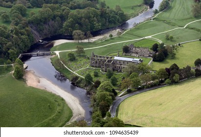 aerial view of Bolton Abbey near Skipton, North Yorkshire, UK