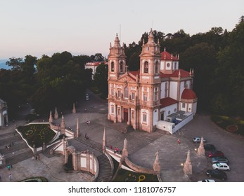 Aerial view of Bom Jesus do Monte is a Portuguese sanctuary in Tenoes, outside the city of Braga, in northern Portugal, shot from drone