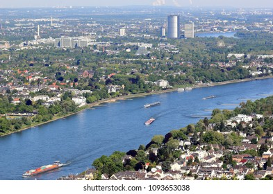 Aerial view of Bonn and the Rhine River. Germany.