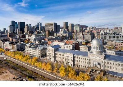 Aerial view of Bonsecours market and downtown Montreal during fall