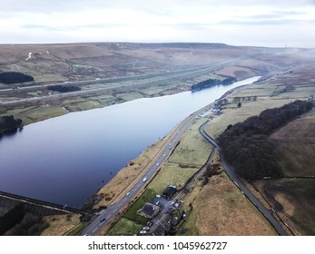 Aerial view of Boothwood Reservoir, above Rishworth, Calderdale, West Yorkshire, UK