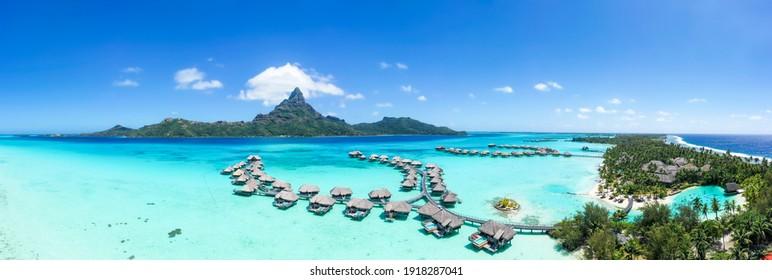 Aerial view of the Bora Bora atoll and luxury beach resort