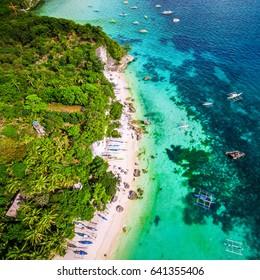 Aerial view of Boracay Island coastline, Western Visayas, Philippines.