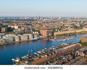 Aerial view of Borneo island and Cruquius island in Amsterdam, Netherlands
