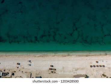 Aerial view of Borsh Beach located in the Albanian Riviera.  This is the longest beach in Albania.