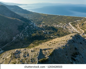 Aerial view of Borsh Castle and Borsh beach along the Albanian Riviera